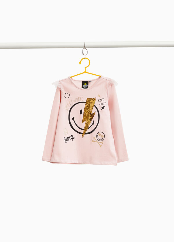 Stretch Smiley T-shirt with flounce in tulle