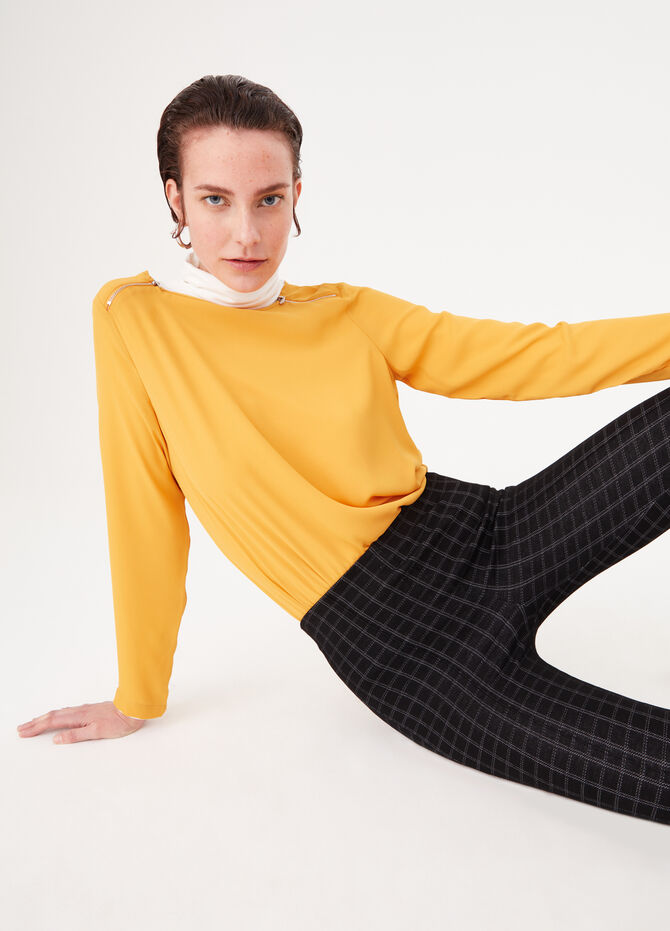 Knitted fabric leggings with side bands