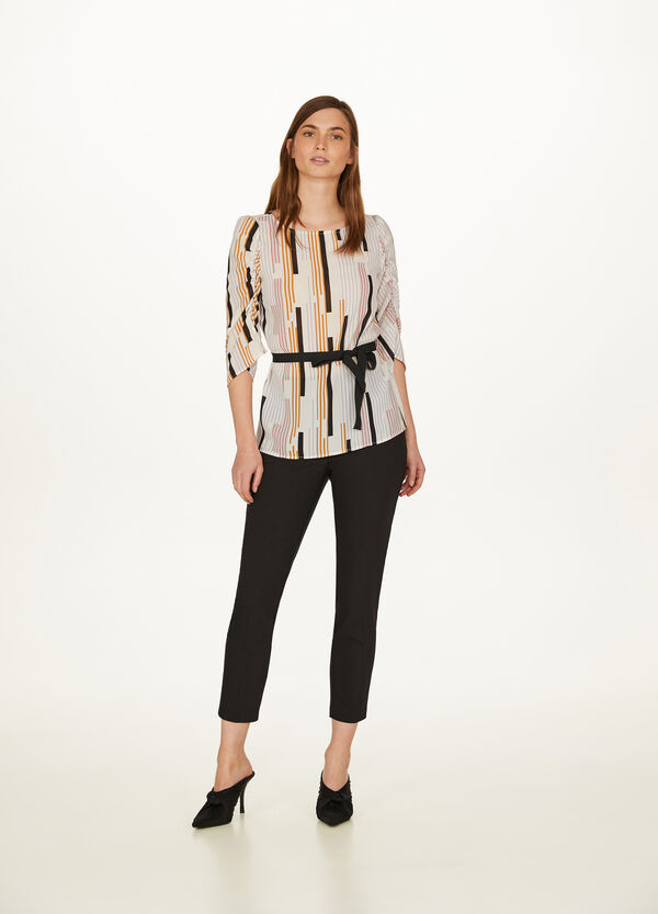 Blouse with three-quarter sleeves and belt