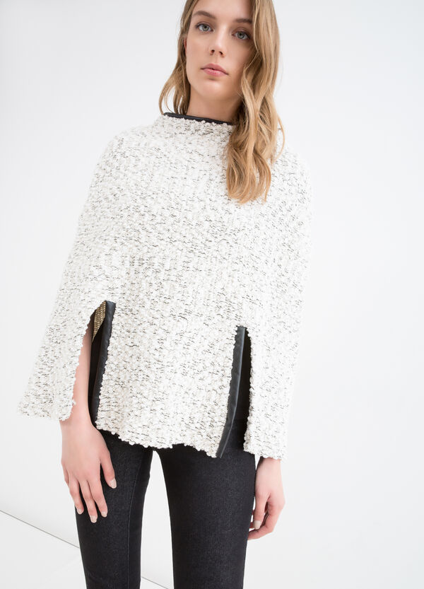 Viscose blend poncho with inserts | OVS