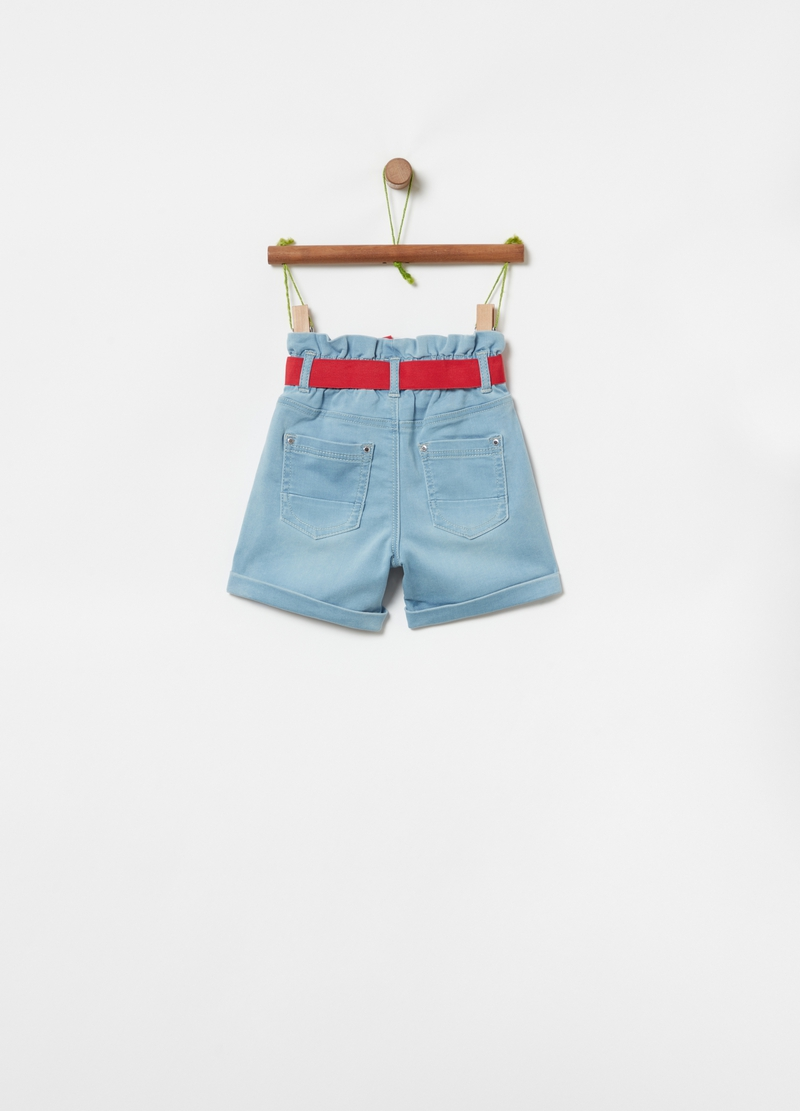 Shorts in denim con cintura image number null