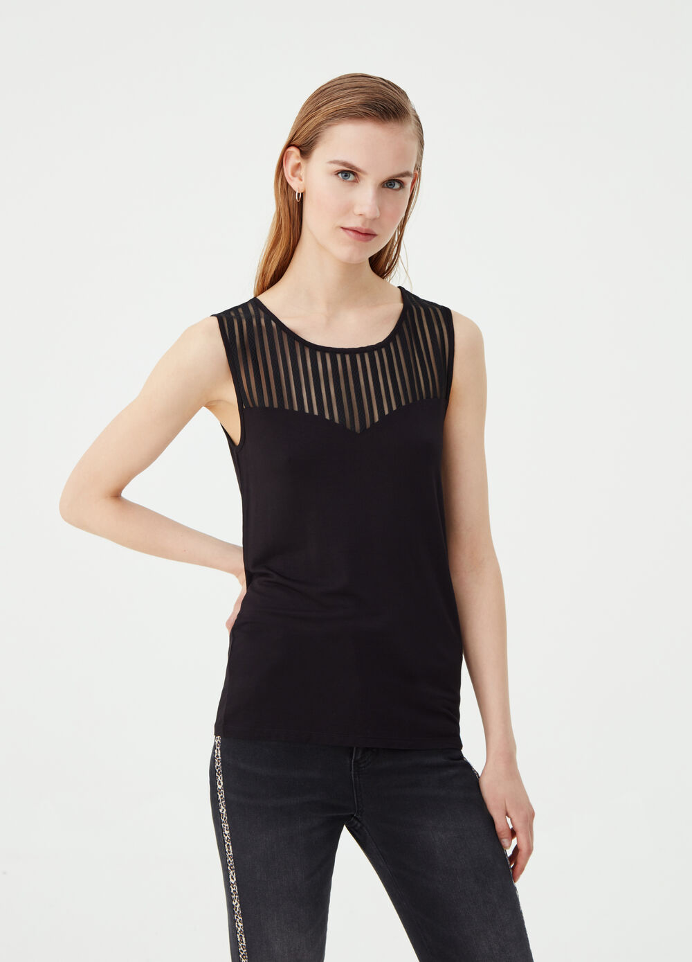 Tank top with semi-sheer striped insert
