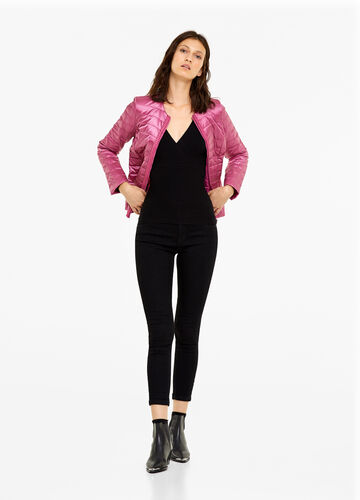 Jacket with round neck and pleating