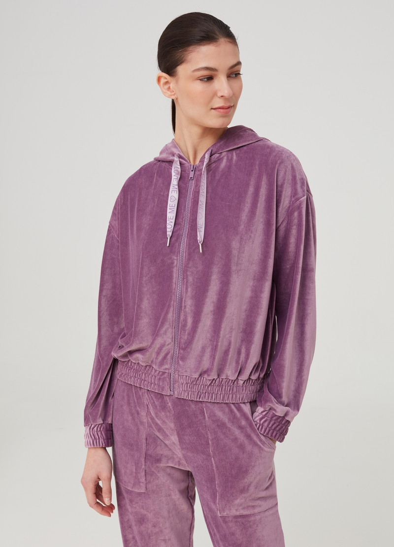 Ribbed pyjama top with zip image number null