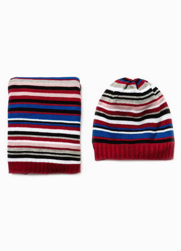 Striped hat and scarf set | OVS