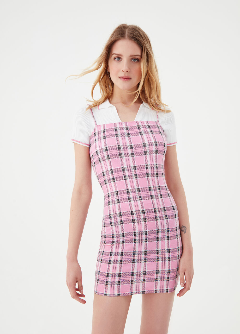 Fitted mini dress in stretch check cotton