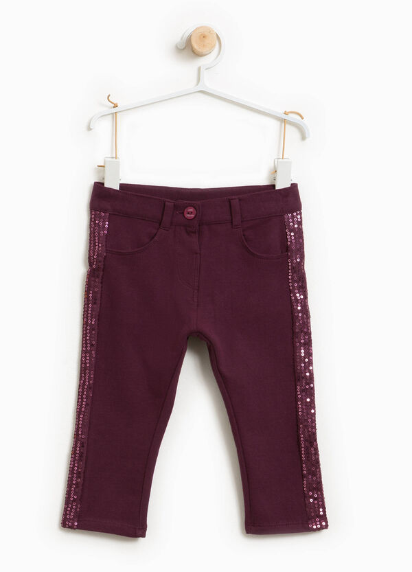 Pantaloni cotone stretch paillettes