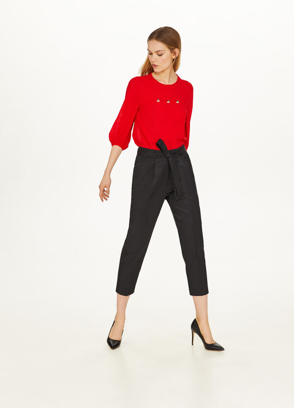 Blouse with three-quarter puff sleeves