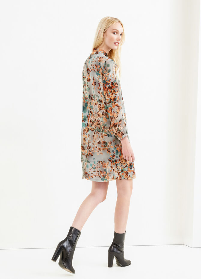 Floral pattern dress with lace tie