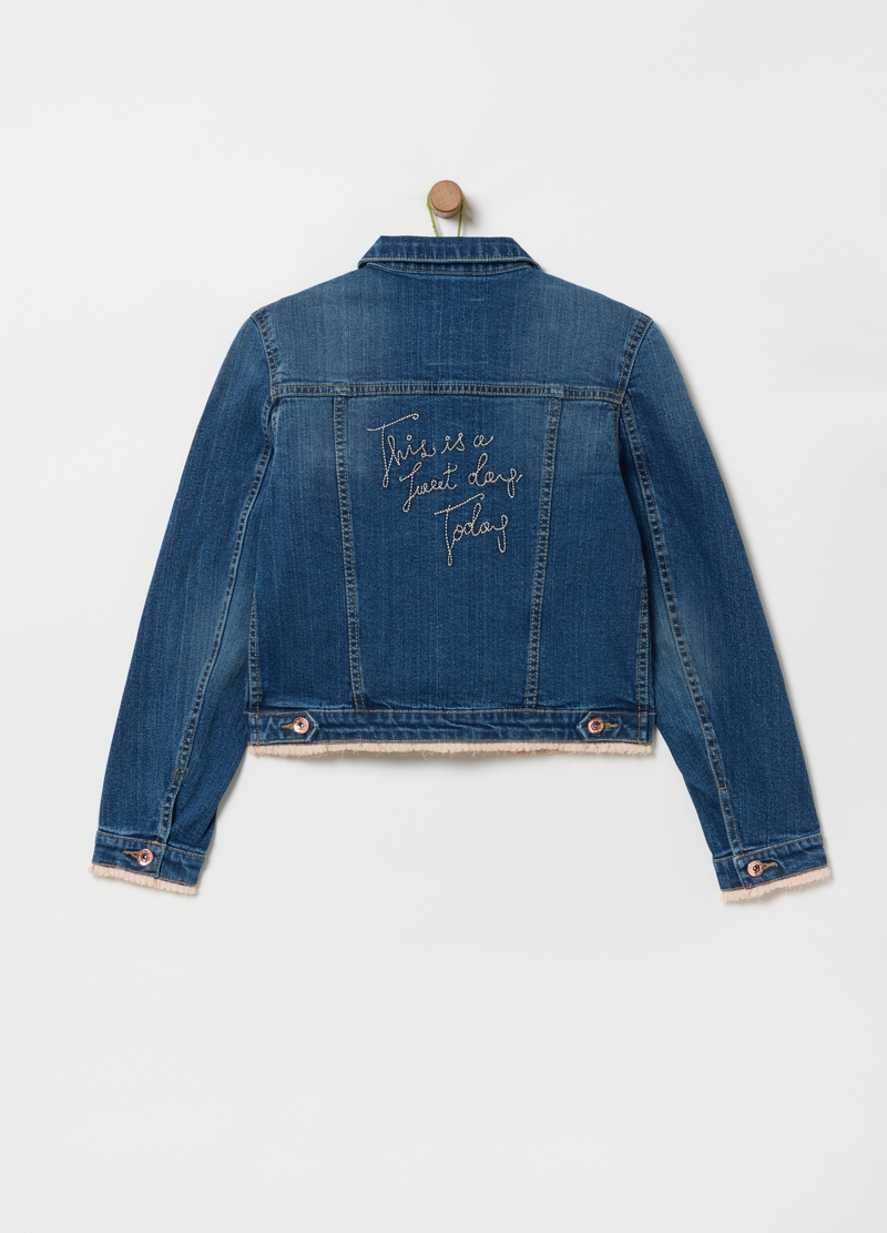 Denim jacket with embroidered lettering image number null