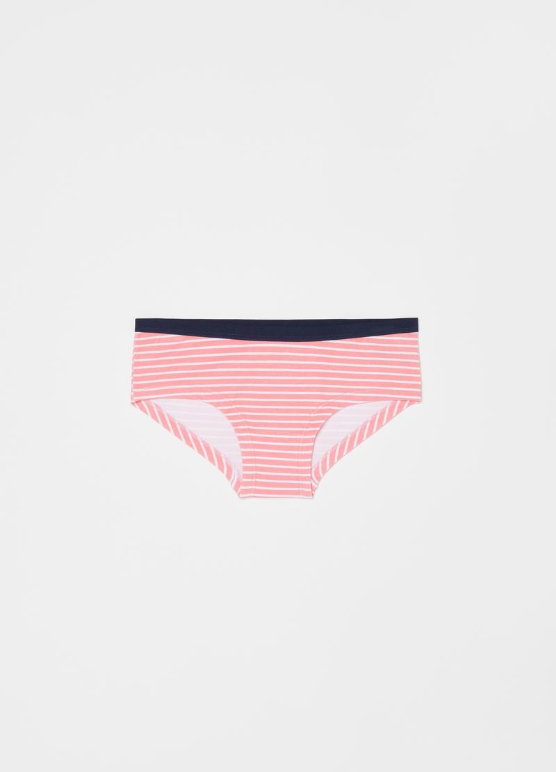 Three-pack French knickers with polka dot and striped pattern. image number null