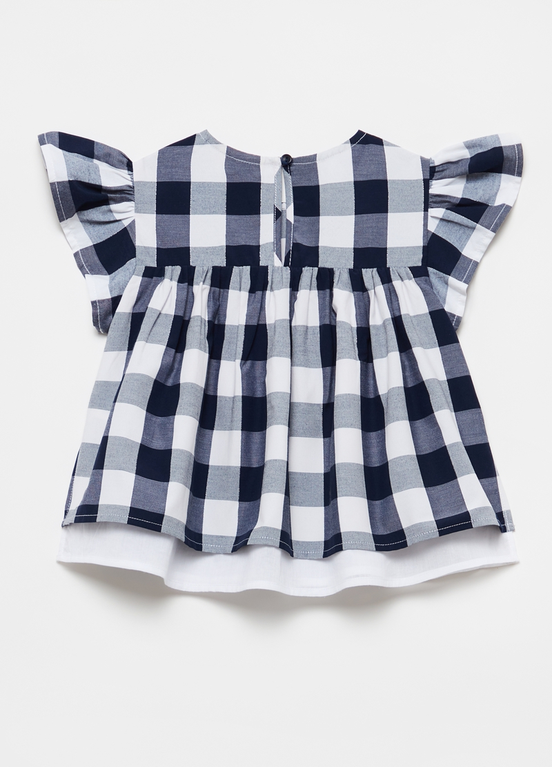 Lurex blouse with check frills image number null