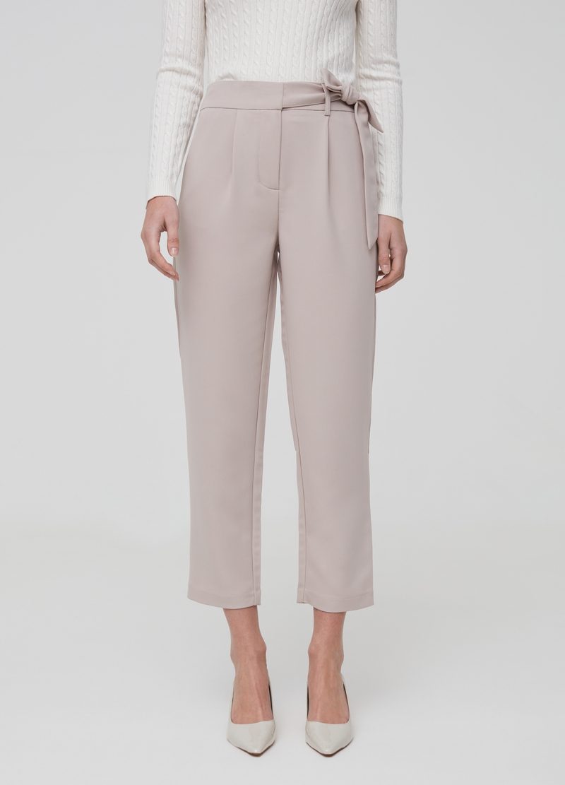 High-waisted trousers with belt image number null