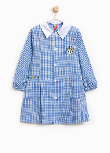 Micro check smock with Mickey Mouse patch