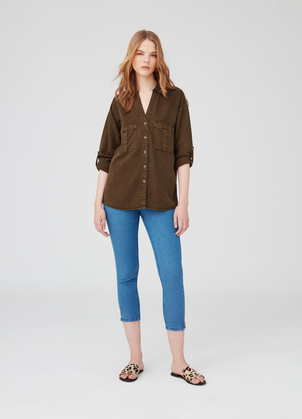 Stretch cropped jeggings with pockets