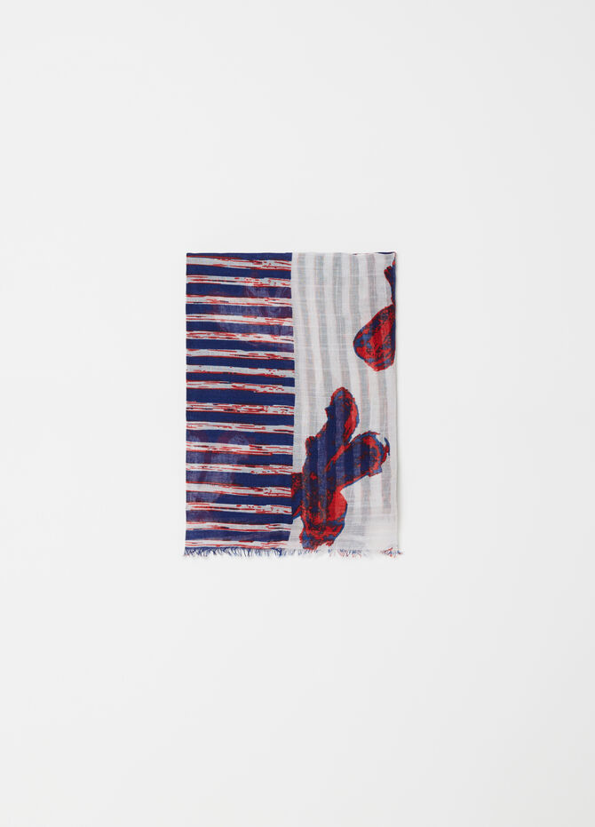 Scarf with striped and floral pattern and print