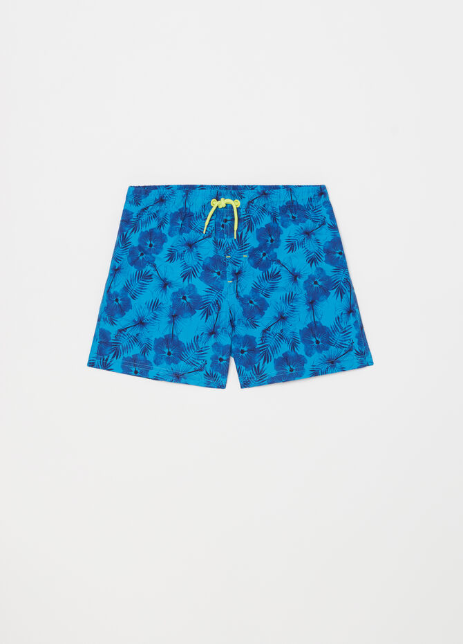 Beach shorts with floral drawstring