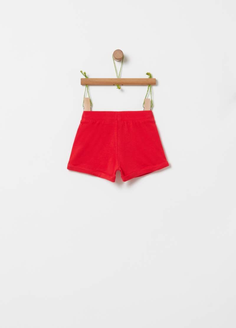 Shorts in cotone bio ricamo floreale image number null