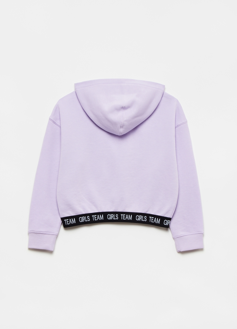 Oversized sweatshirt with hood and lettering print image number null