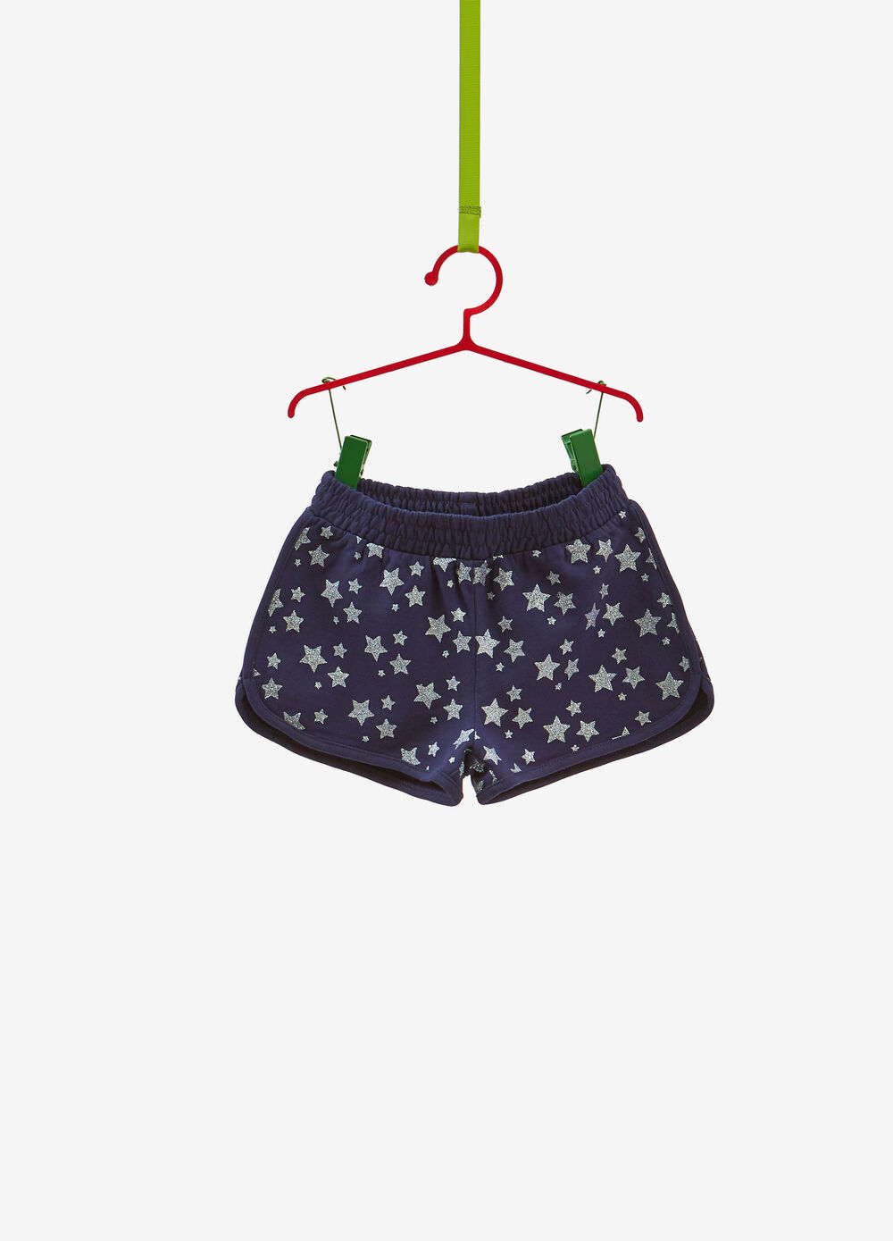 Shorts in 100% cotton with glitter stars print