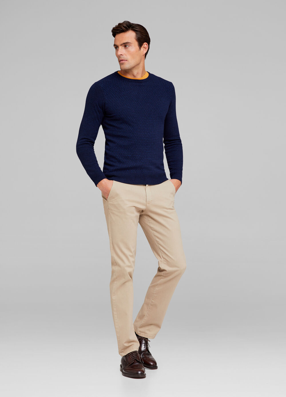 Tencel and wool blend pullover with polka dots