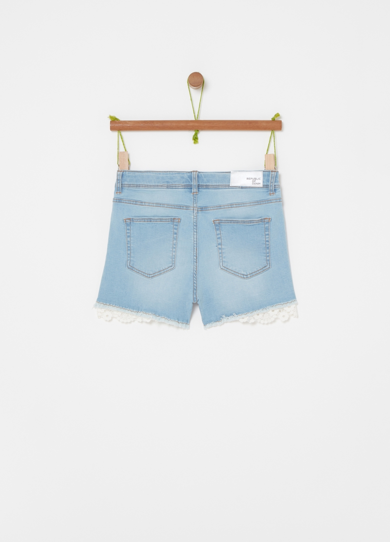 Denim shorts with lace image number null