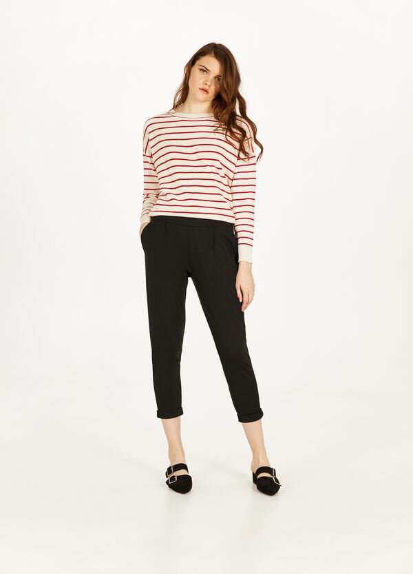Stretch crop trousers with turn-ups