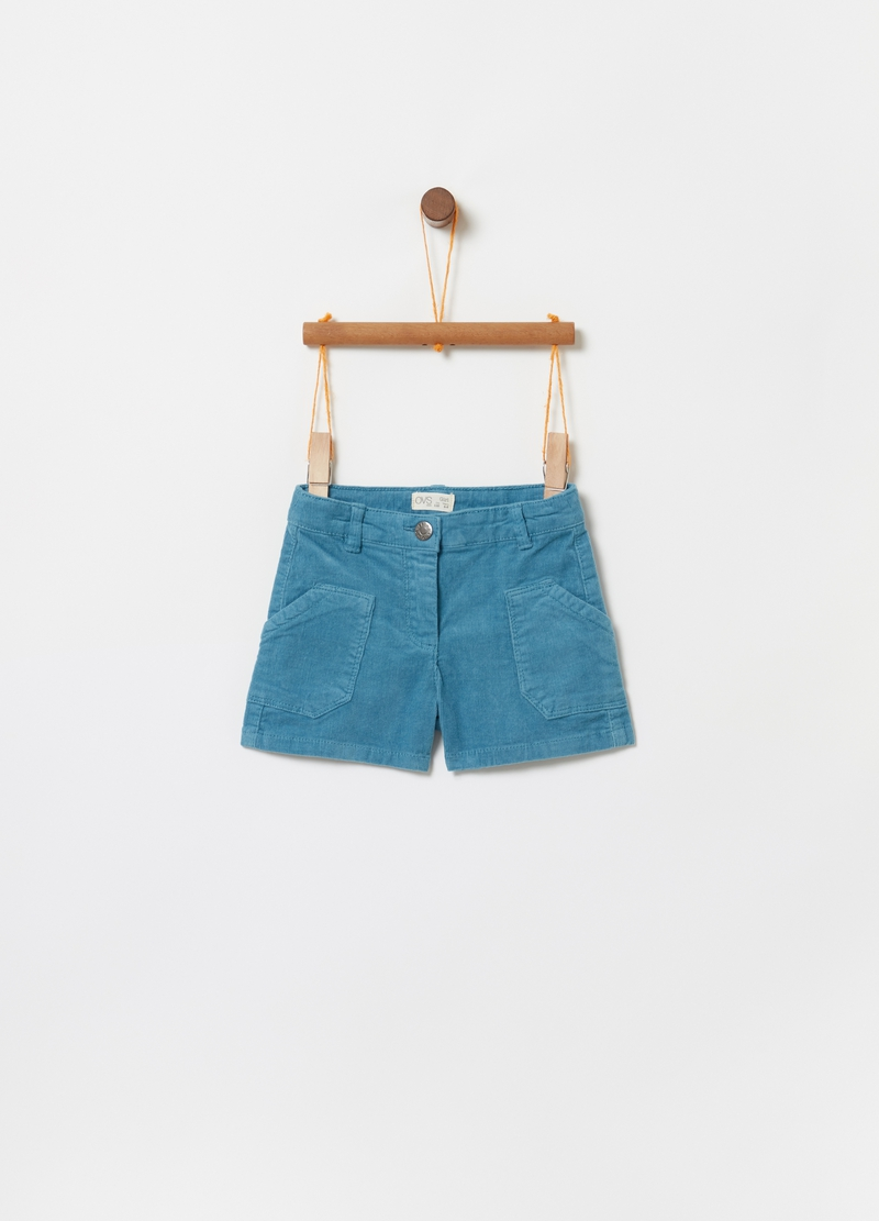 Shorts in cotone stretch effetto velluto image number null