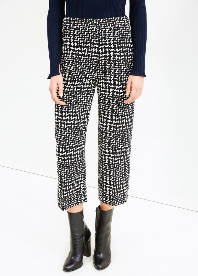 High-waisted, printed cropped trousers