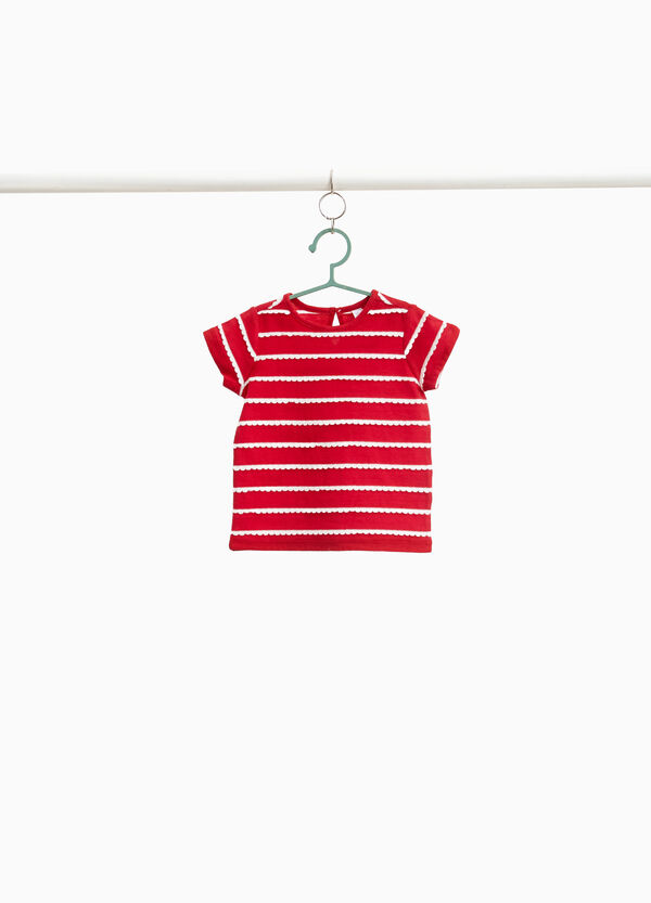 100% cotton T-shirt with striped inserts