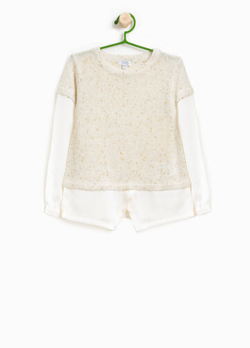 Knit pullover with glitter pattern