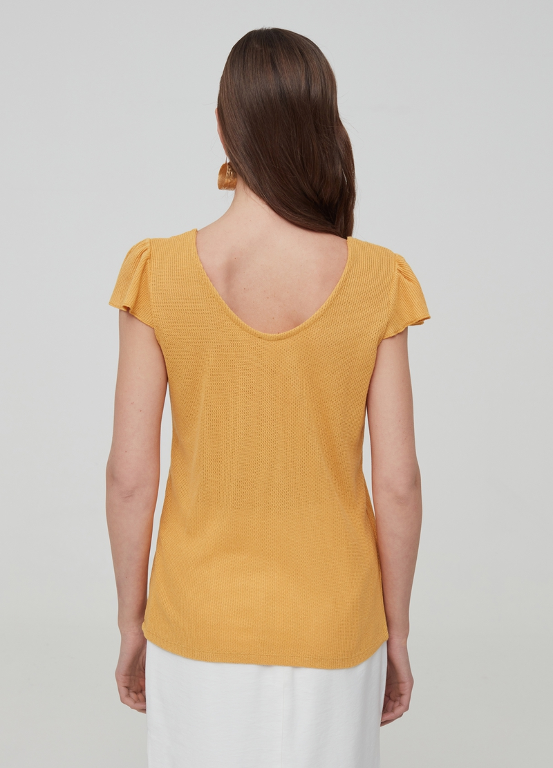 Ribbed T-shirt with cap sleeves image number null