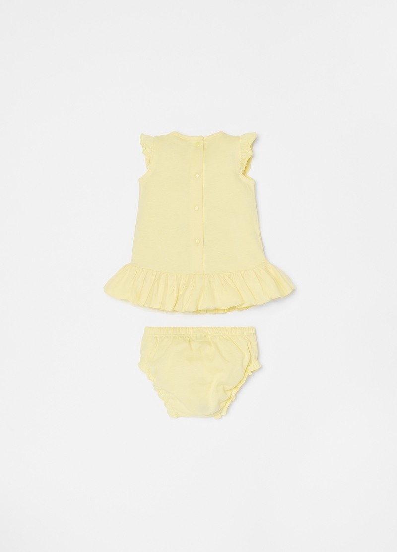 Flounced dress and briefs set in cotton image number null