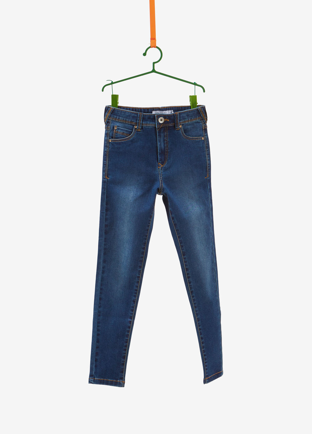 High-waisted washed-effect stretch jeans