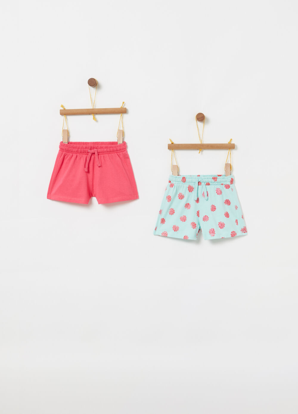 Set shorts puro cotone con coulisse