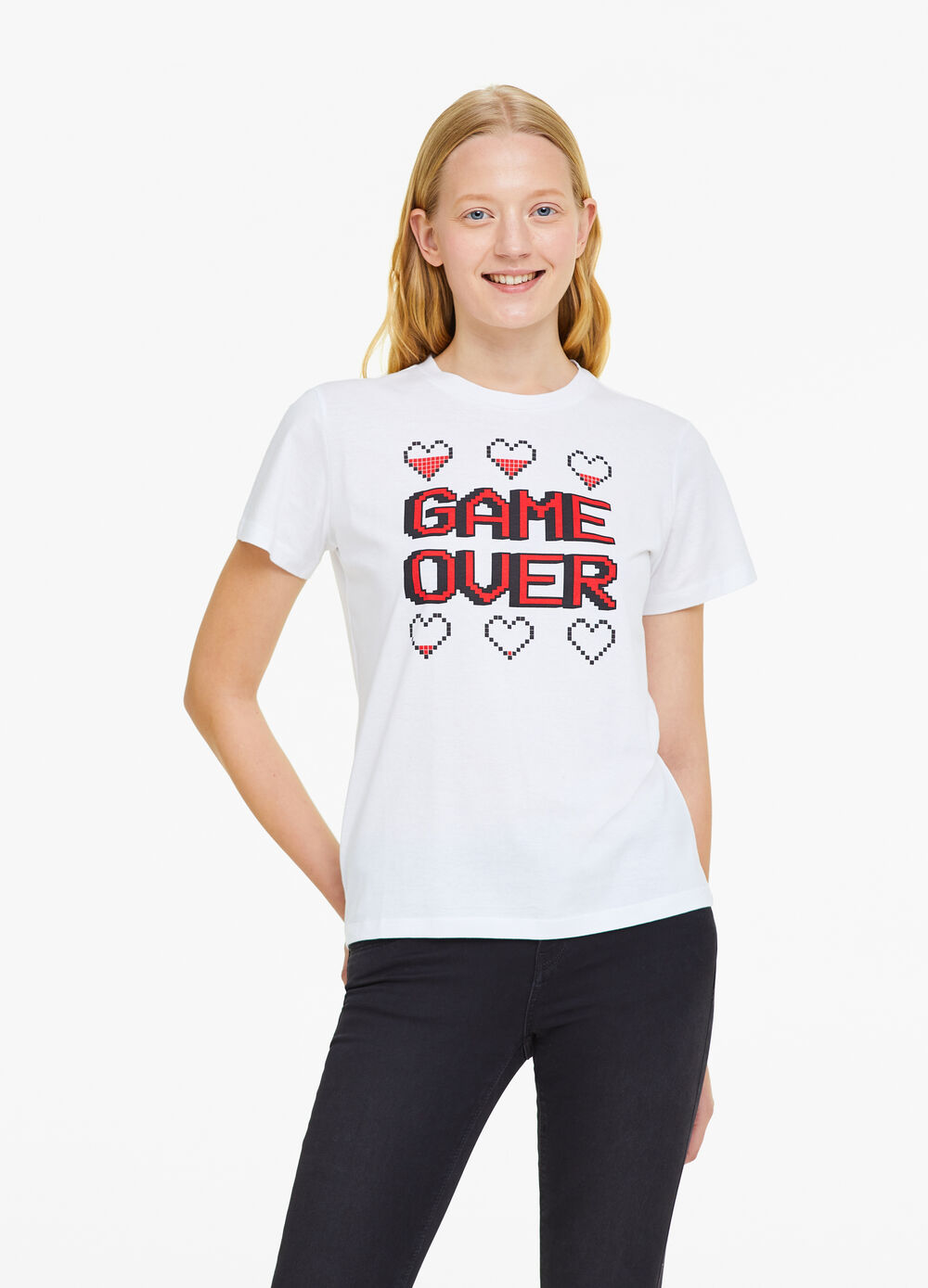 100% cotton T-shirt with lettering and hearts