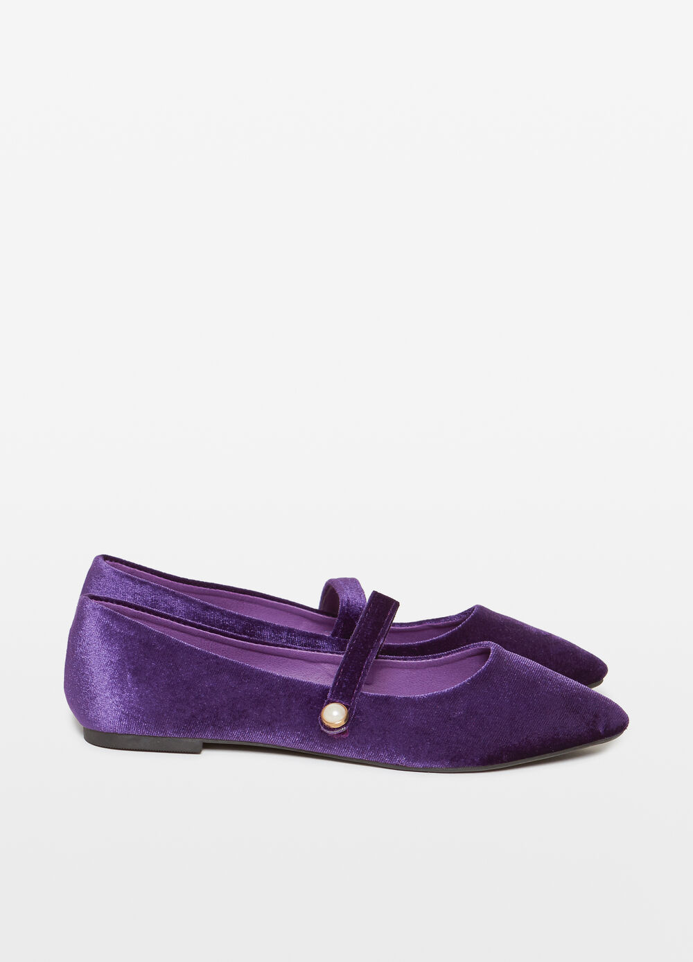 Velvet ballerina flats with bead