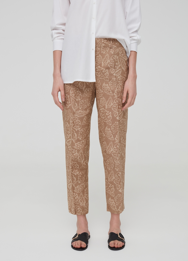 Crop trousers in linen and viscose image number null