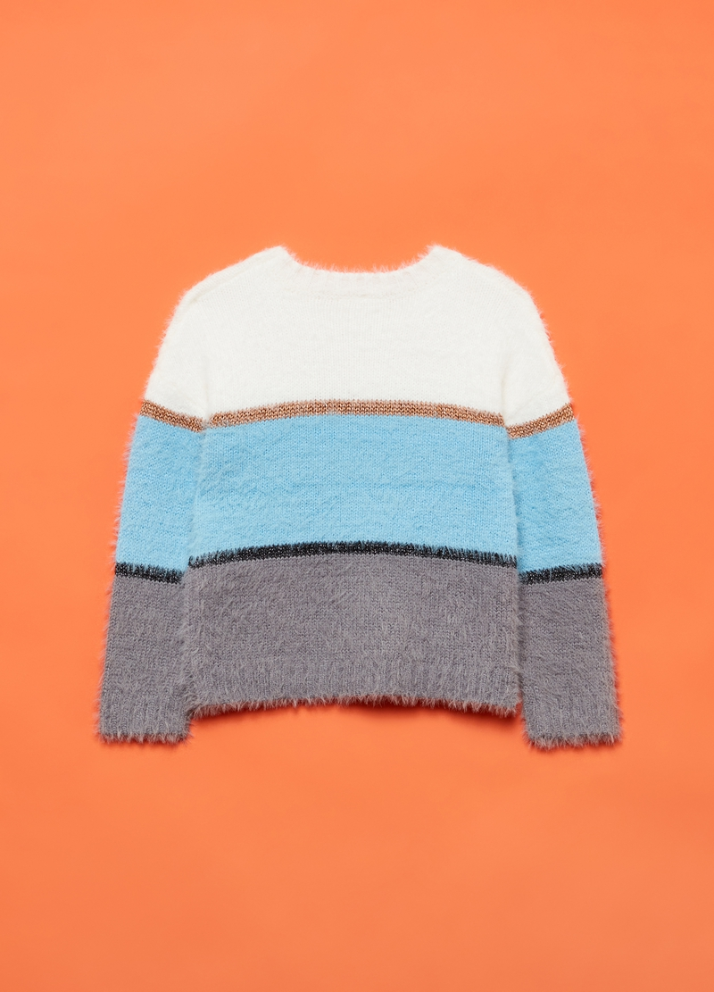 Striped pullover with lurex details image number null