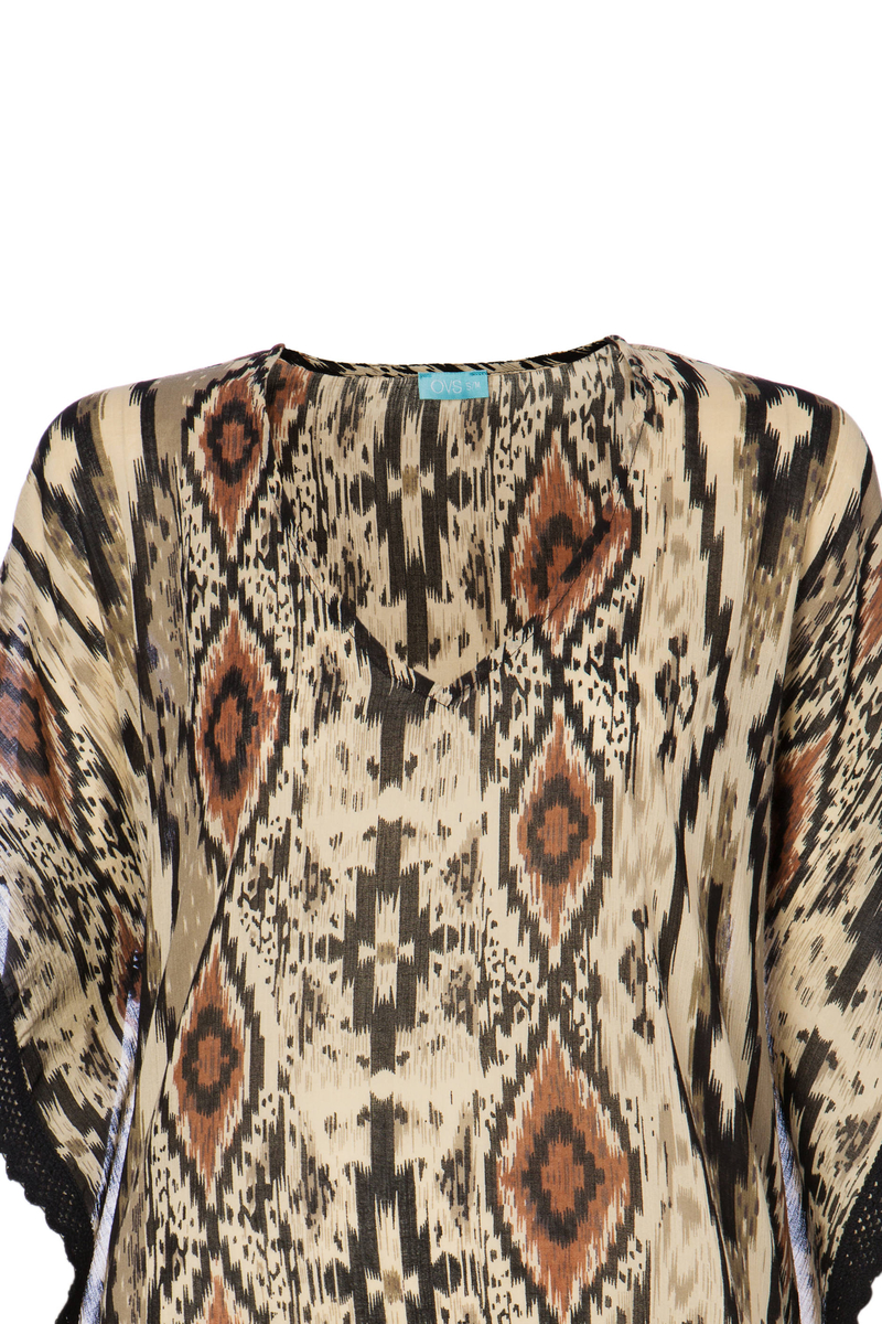 Patterned beach cover-up in 100% cotton image number null
