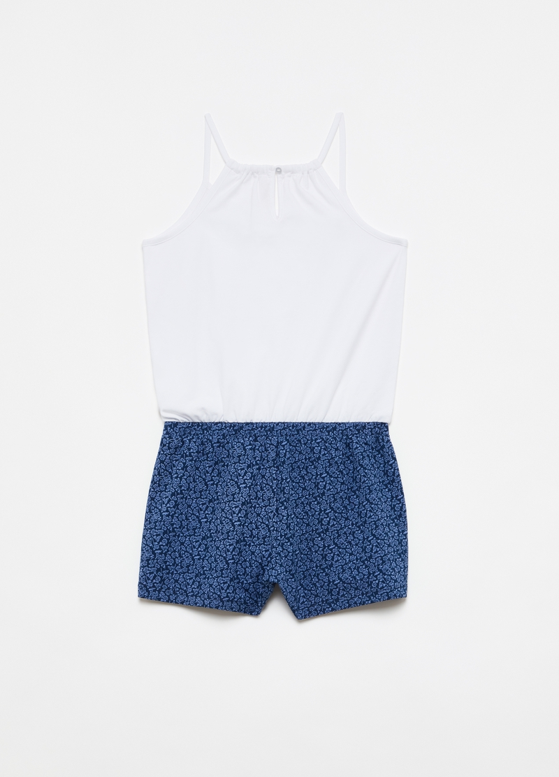 Two-tone short stretch cotton playsuit image number null
