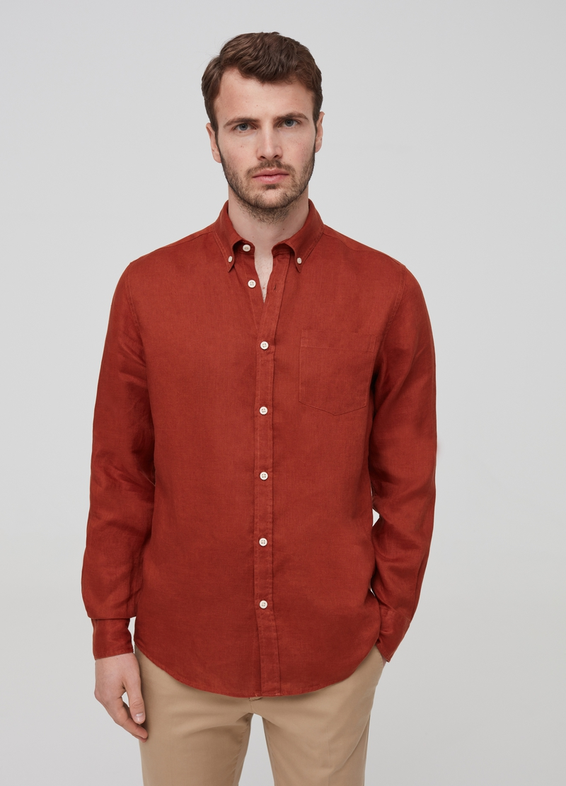 100% linen button-down shirr image number null