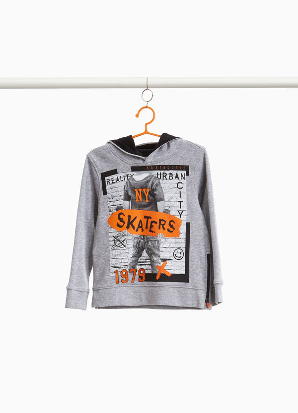 Cotton and viscose sweatshirt with skater print
