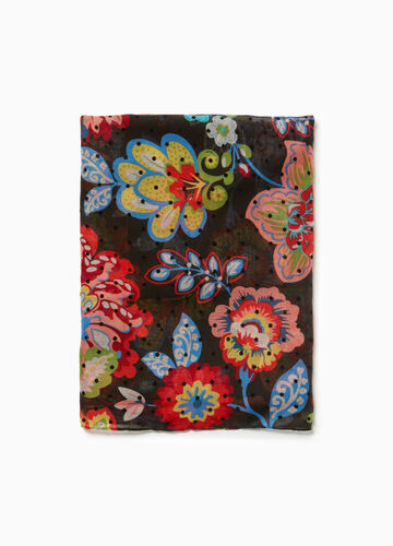 Scarf with floral pattern and polka dot weave