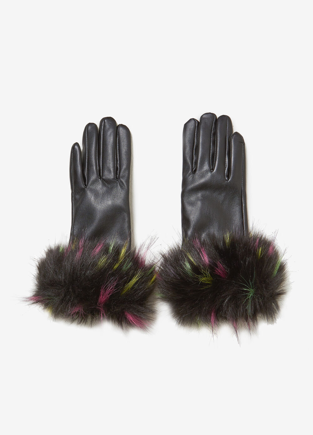 Leather-look gloves with faux fur