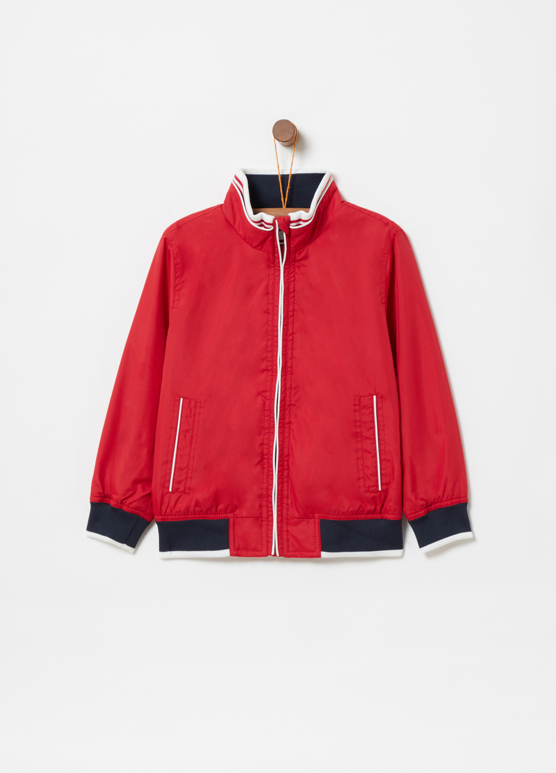 Nylon jacket with welt pockets image number null