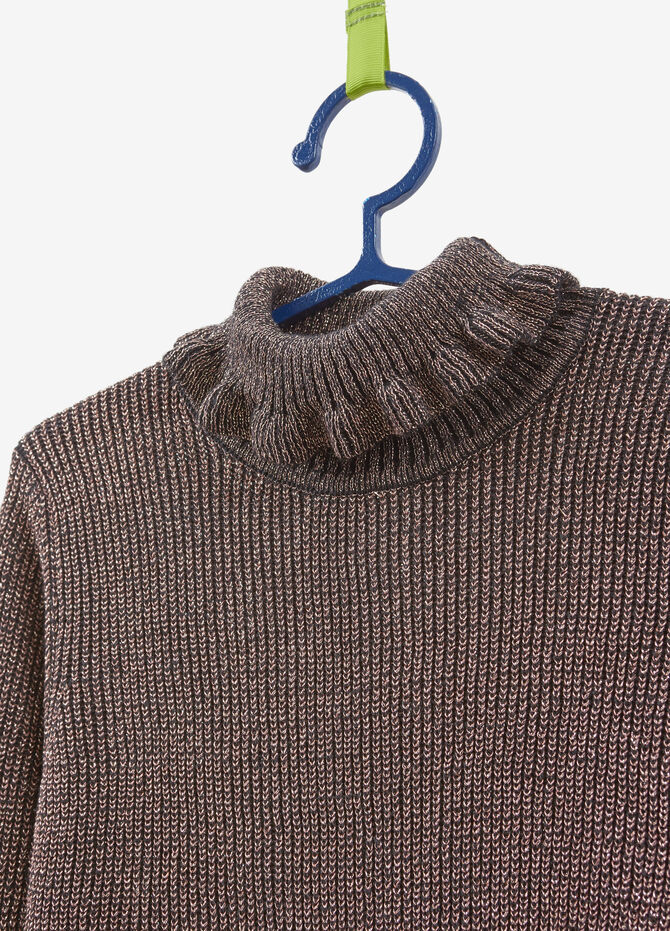 Knitted turtleneck jumper with lurex and flounce