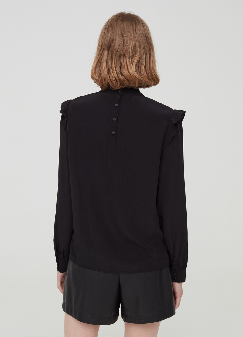 Blouse with flounce and pleated neckline image number null