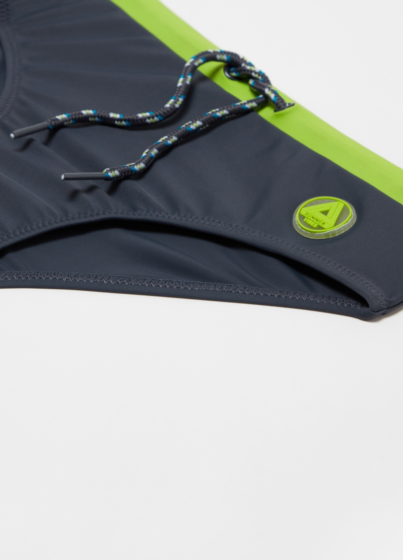 Swim briefs in Econyl with drawstrings image number null