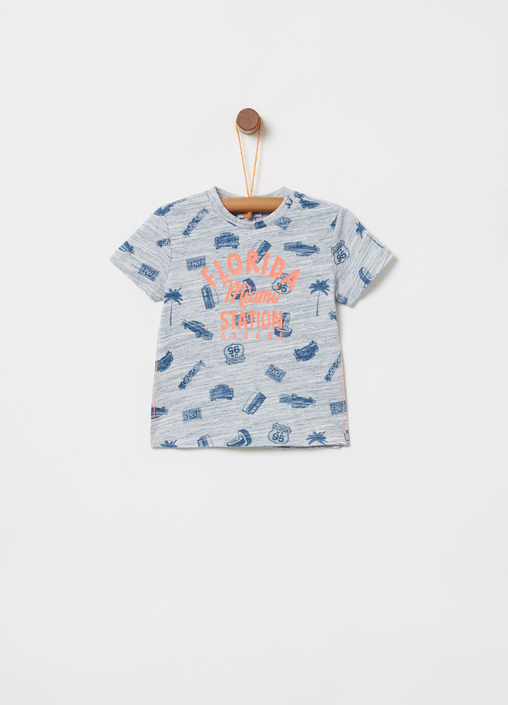 Mélange T-shirt with print and pattern